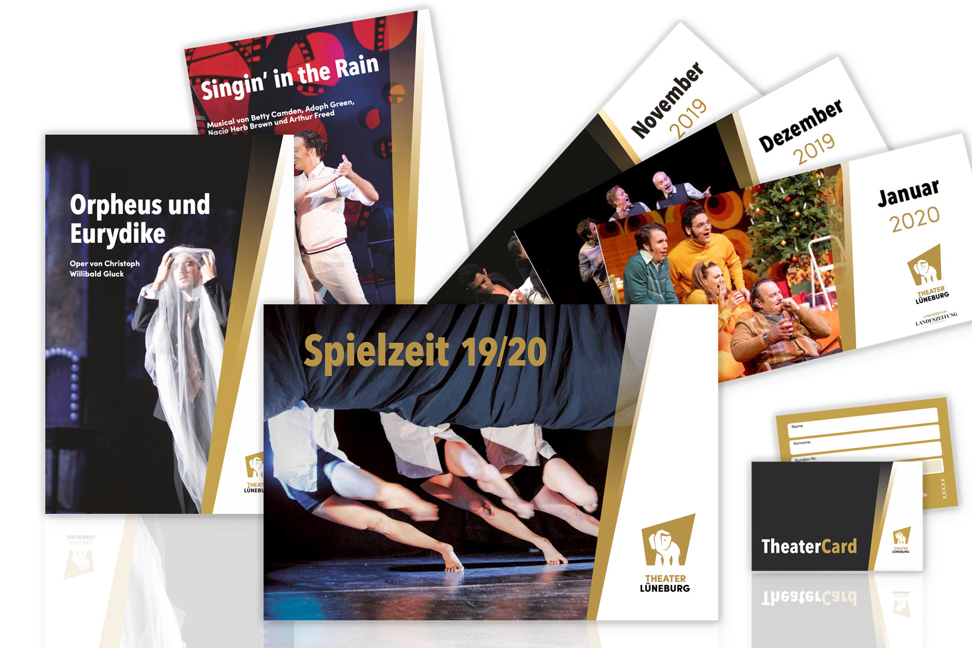 Entwicklung des Corporate Designs mit Printmedien wie Broschüren, Leporello, Plakate, Programmhefte