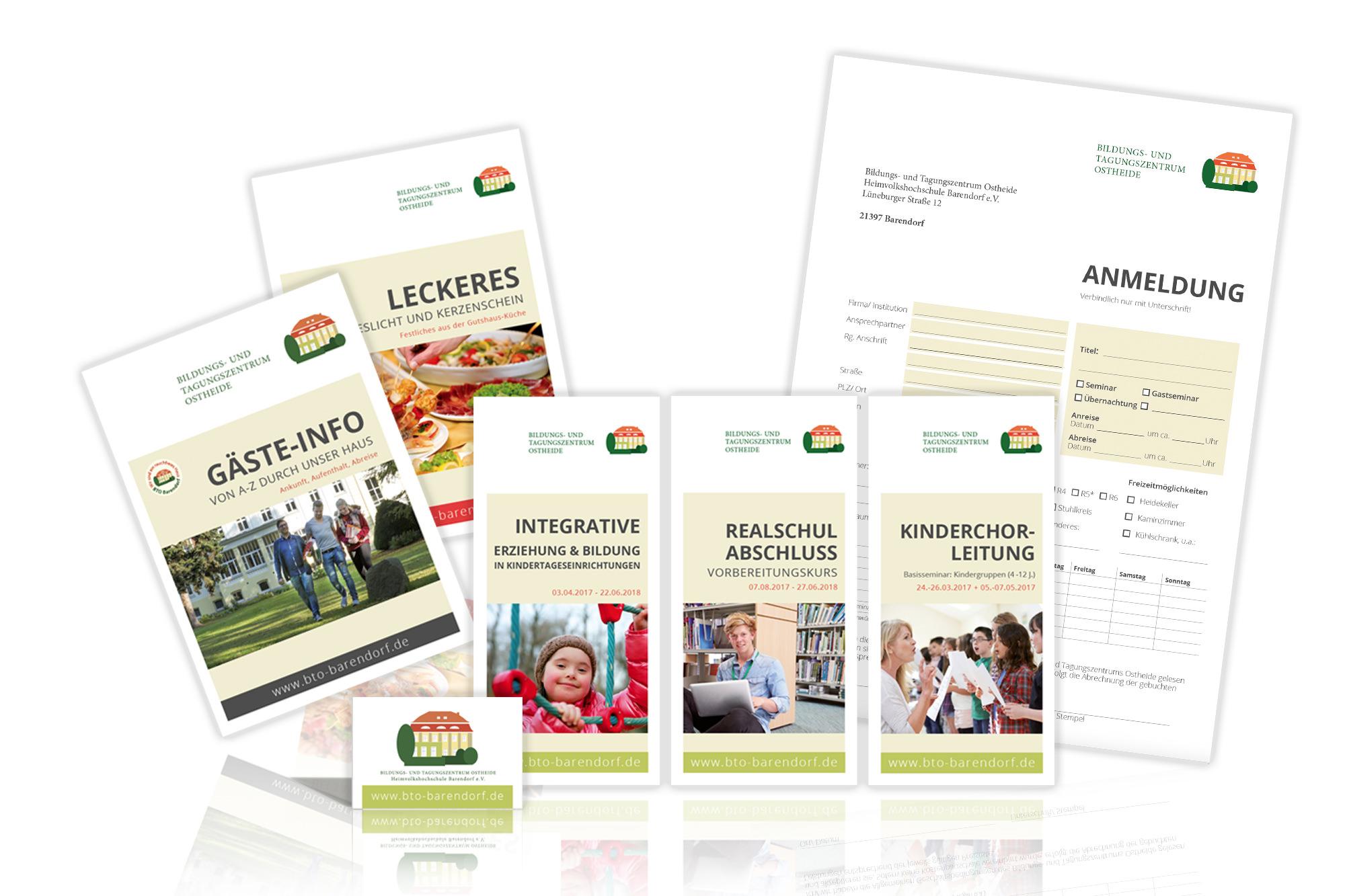 Entwicklung des Corporate Designs mit Printmedien wie Broschüren, Flyer, Geschäftspapiere