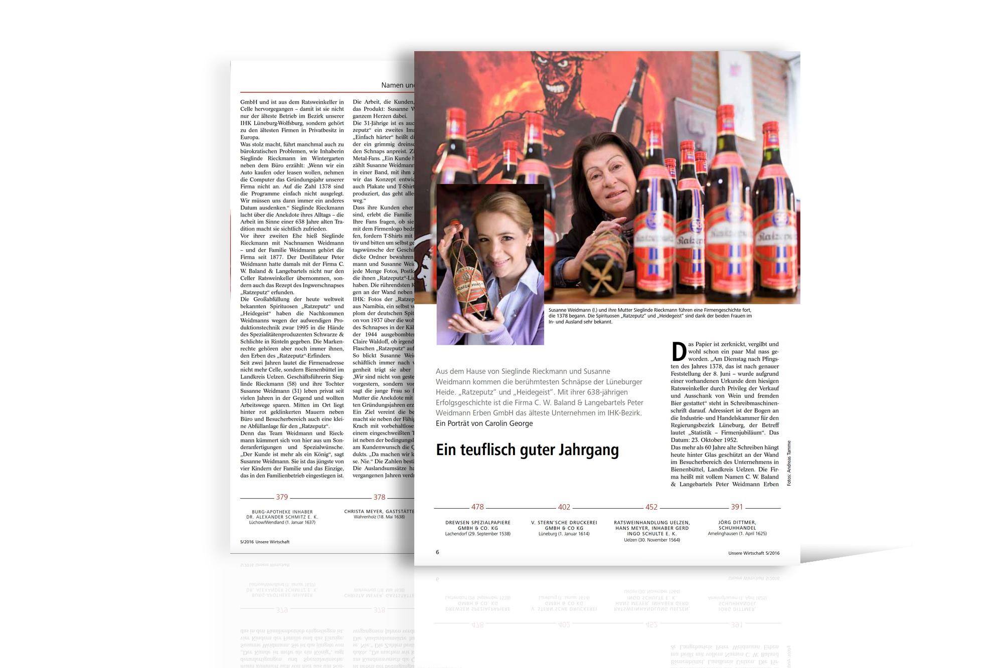 Bericht im IHK-Magazin Unsere Wirtschaft 2016
