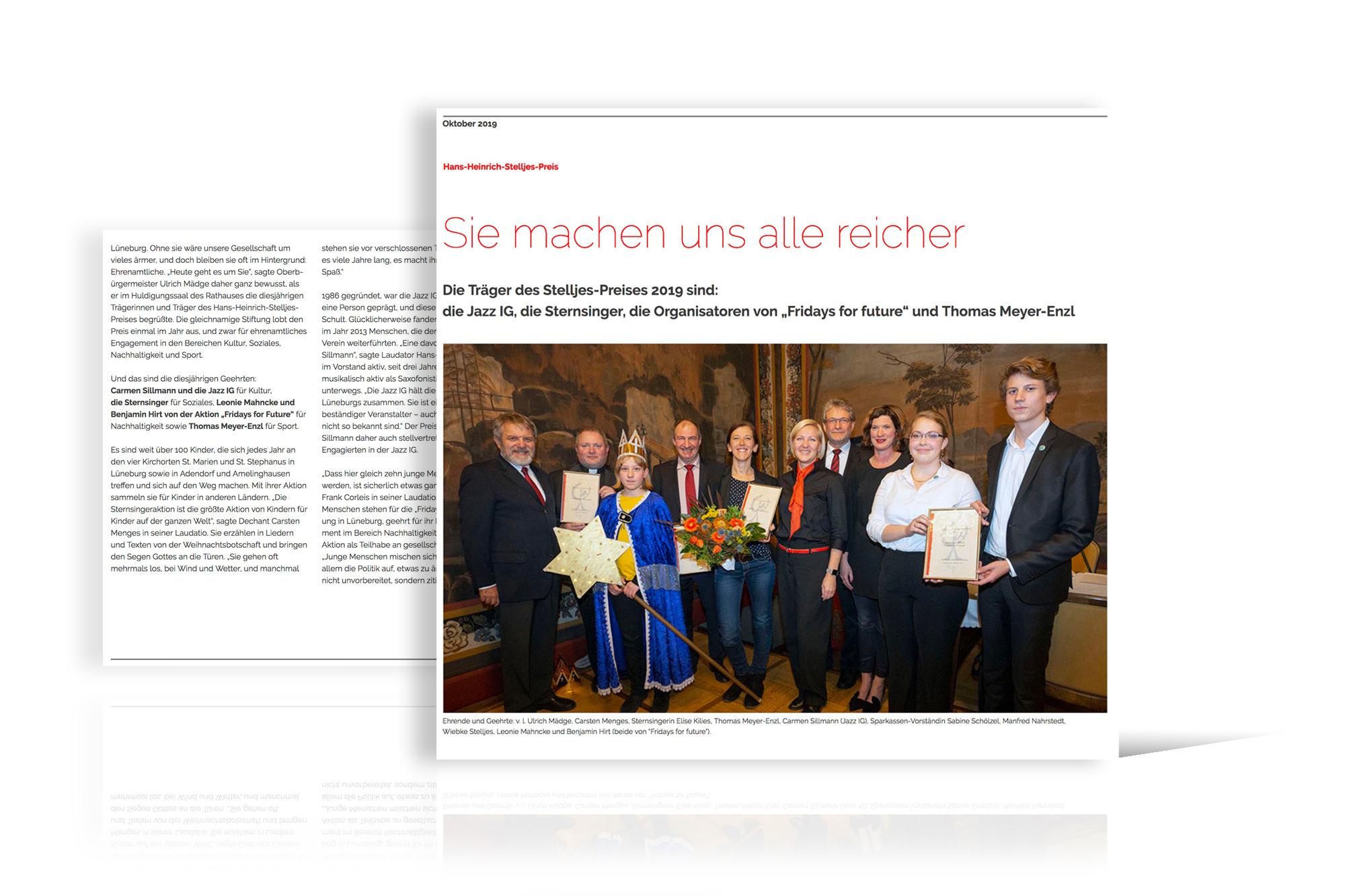 Verleihung des Hans-Heinrich-Stelljes-Preises der Sparkassenstiftung Lüneburg, Oktober 2019