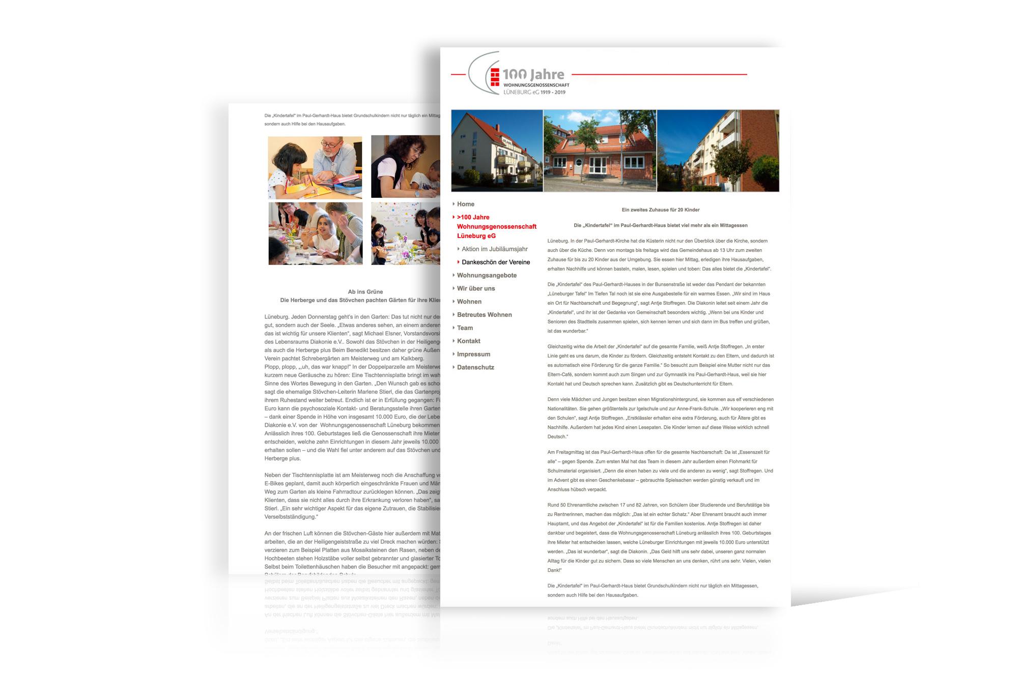 PR für Spendenaktion Wohnungsgenossenschaft Lüneburg