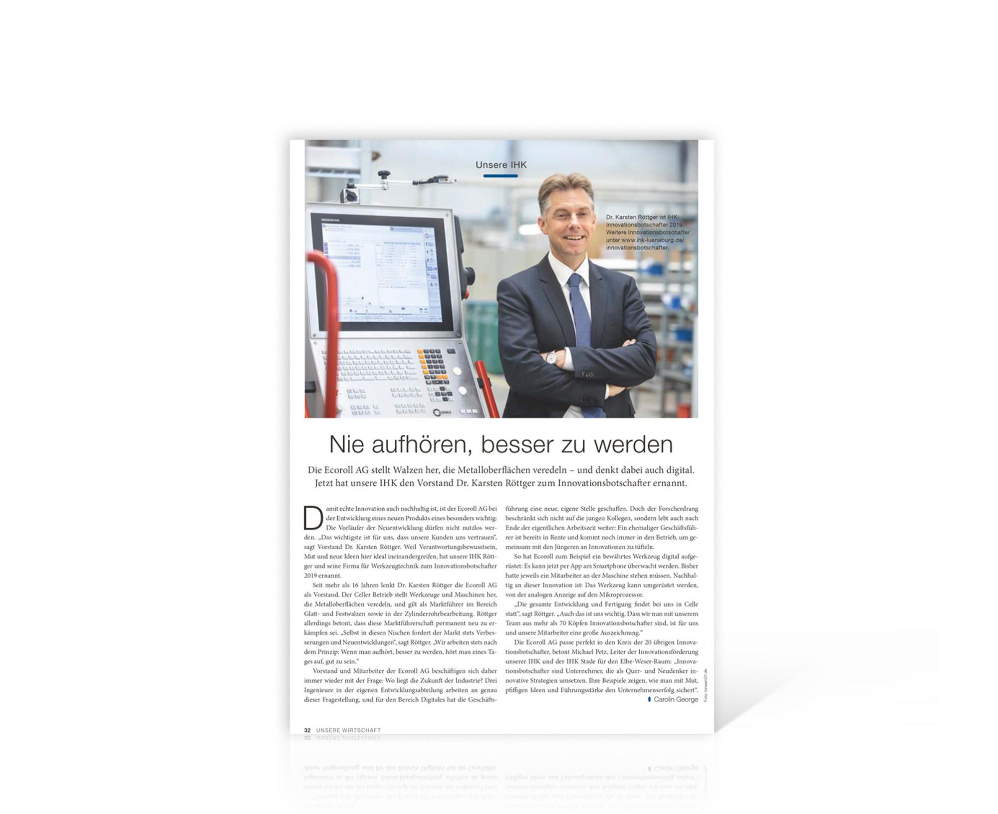 Bericht im IHK-Magazin Unsere Wirtschaft, Dezember 2019