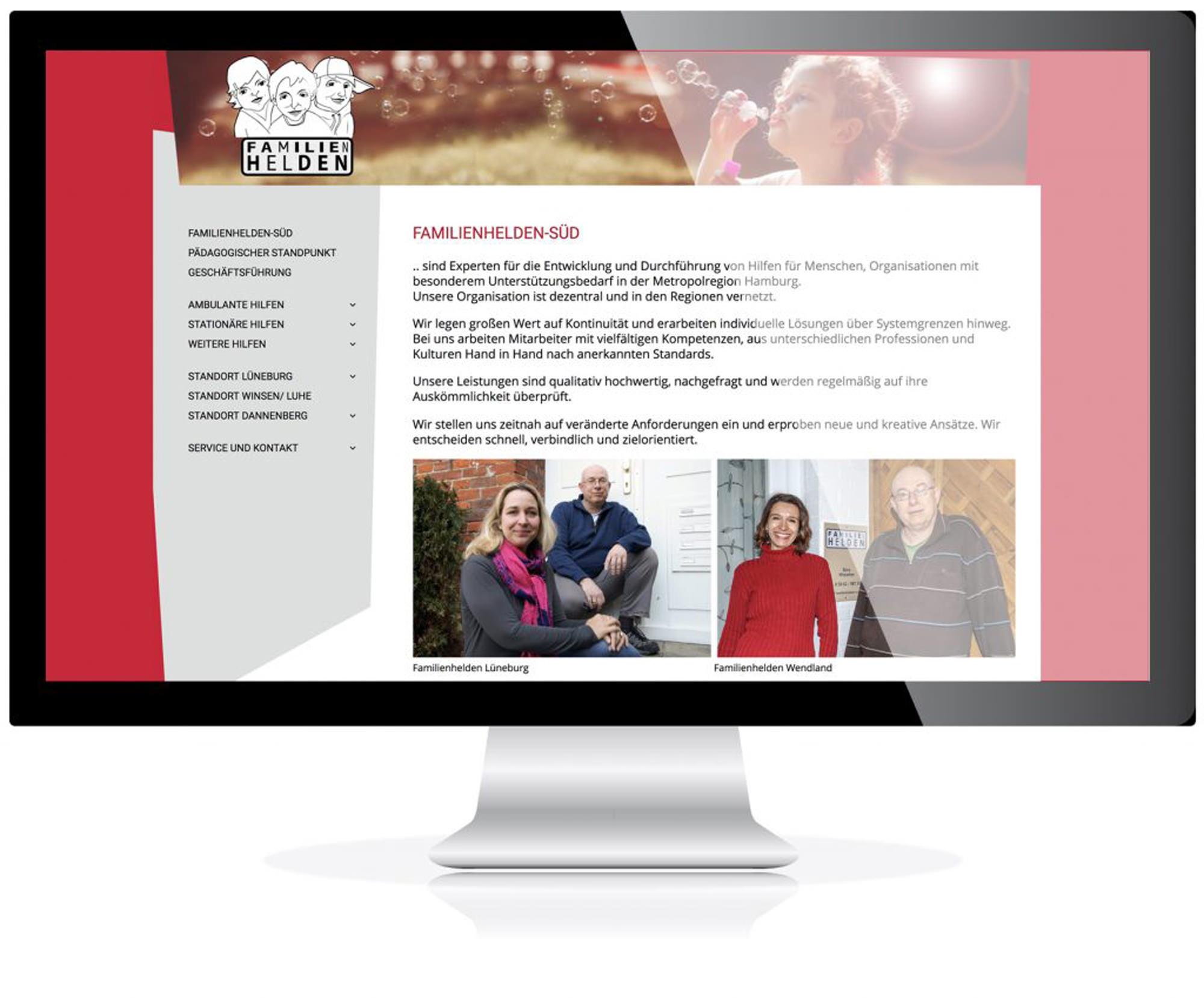 Website für die Familienhelden-Süd, Lüneburg