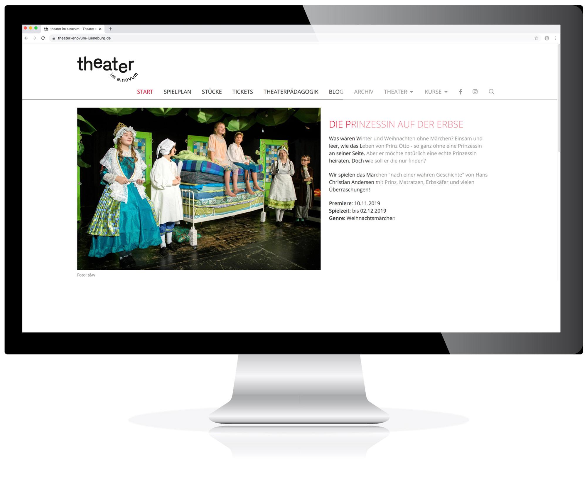 Website für das Theater im E.Novum, Lüneburg